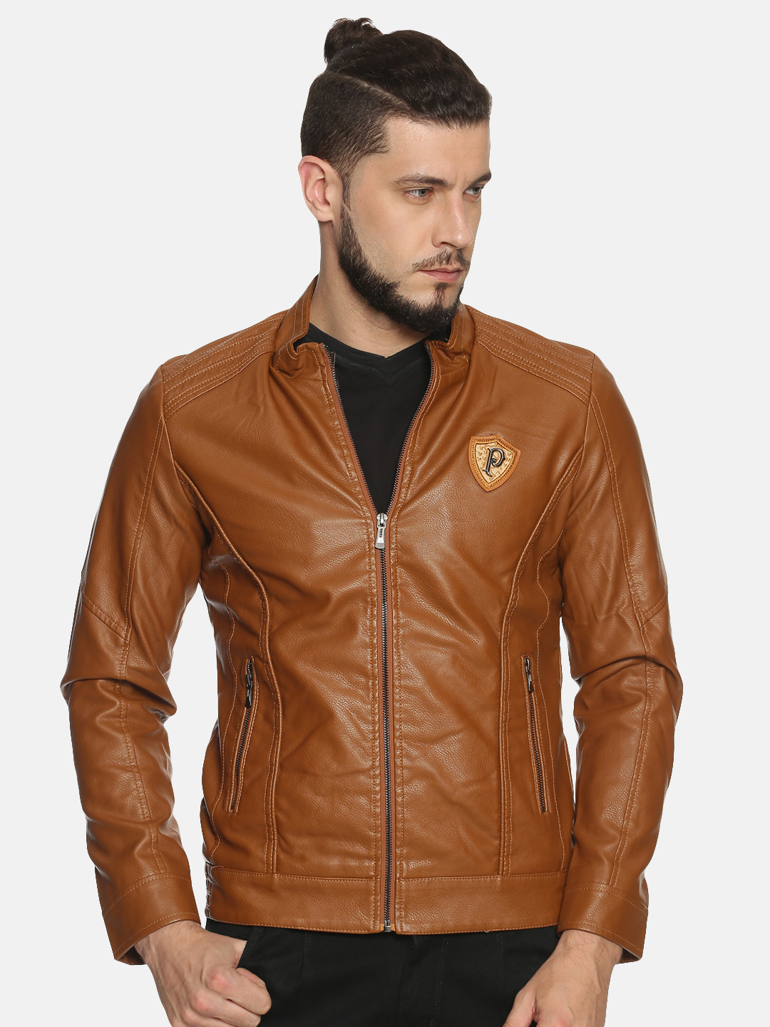 Showoff   Men Brown Casual Solid Leather jacket