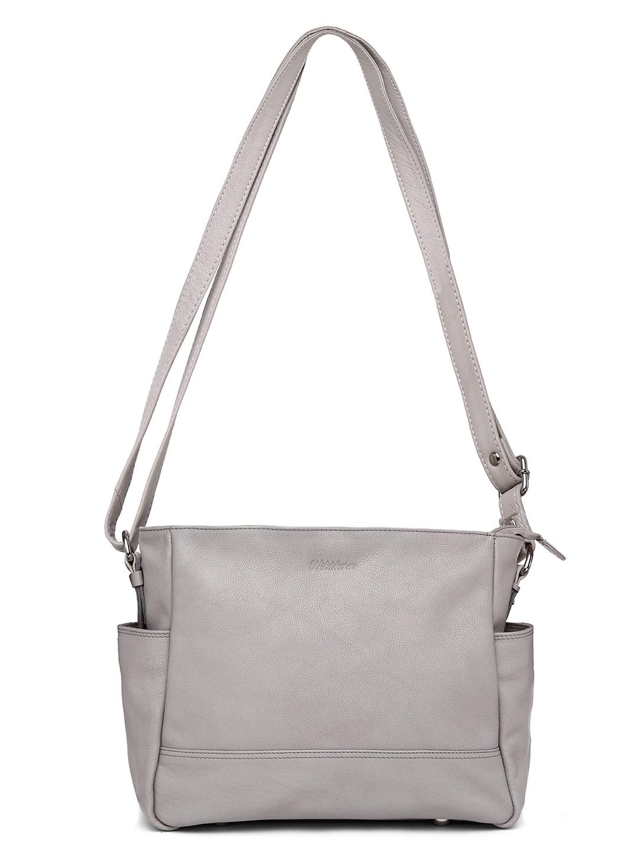 WildHorn   WildHorn Upper Grain Genuine Leather Ladies Tote, Sling, Shoulder, Hand Bag with Adjustable Strap - Grey