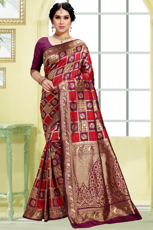 POONAM TEXTILE | Women's Checkered Woven Banarasi Art Silk Saree (Purple)