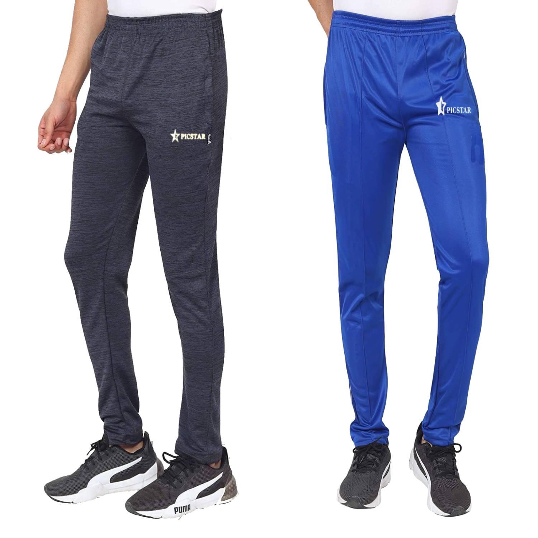 Picstar | Picstar Men's Poyester Black & Blue Trackpants Combo