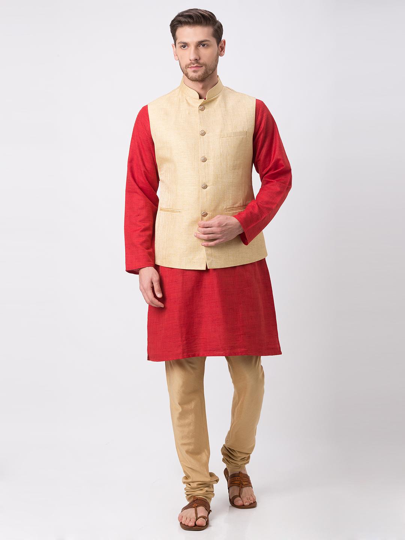 Ethnicity | Ethnicity Full Sleeve Polyester Blend Beige Men Jackets