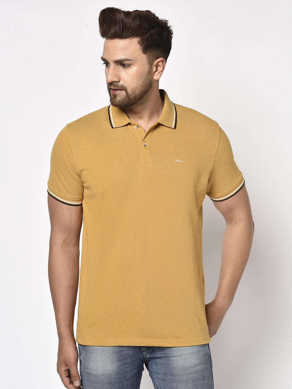 OCTAVE   Men MUSTARD MELANGE T-Shirts
