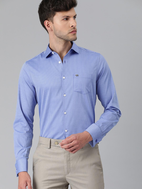 The Bear House | Men Blue Slim Fit Striped Pure Cotton Formal Shirt