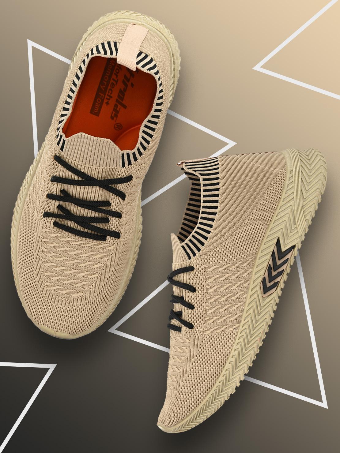 Hirolas   Hirolas® Men's Beige Knitted Running/Gym/Walking athleisure Sports Sneaker Shoes