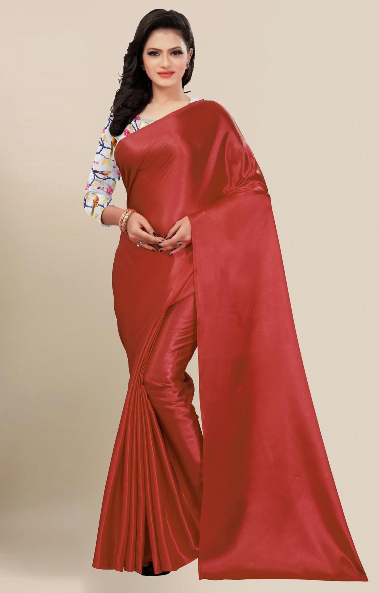 SATIMA | Fancy Maroon Solid Casual Wear Saree