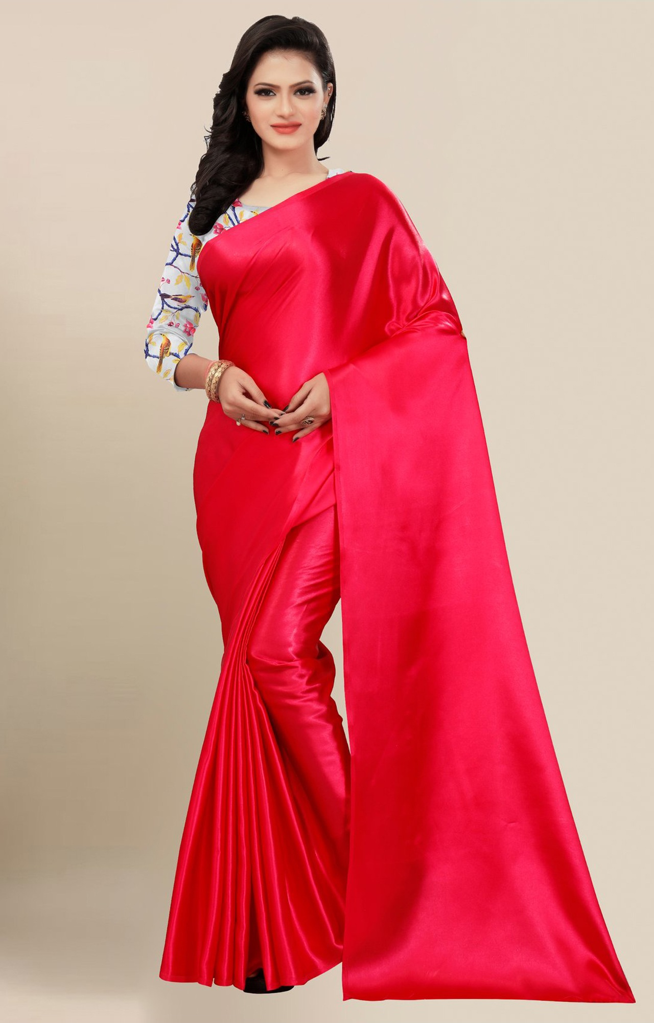 SATIMA | Fancy Red Solid Casual Wear Saree