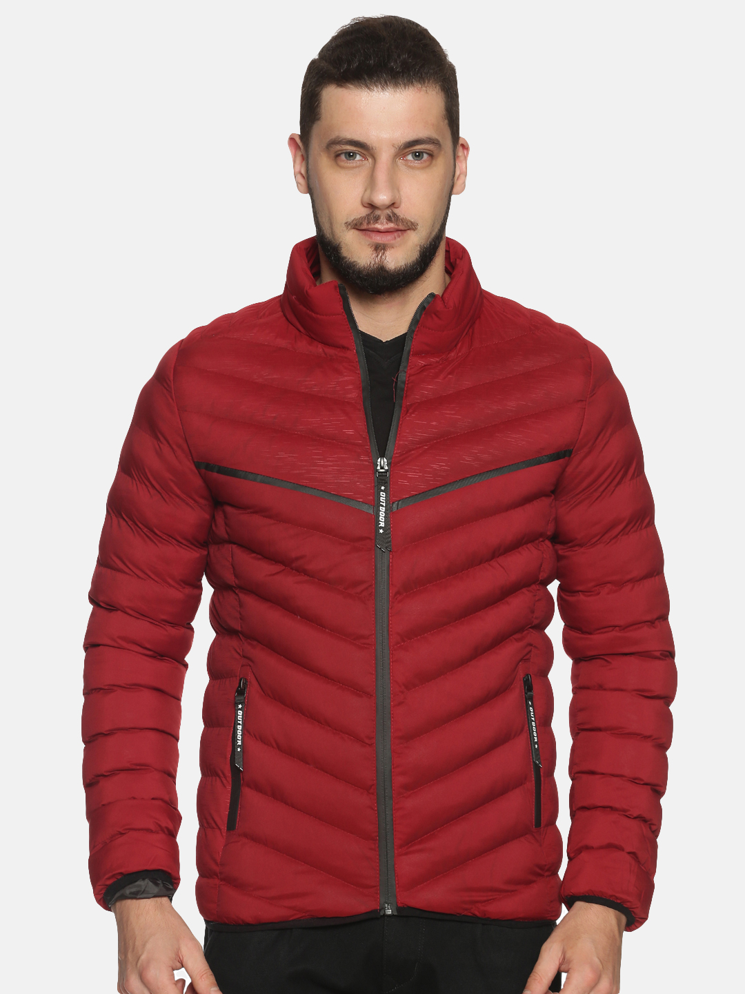 Showoff   Men Red Solid Padded Jacket with Detachable Hood