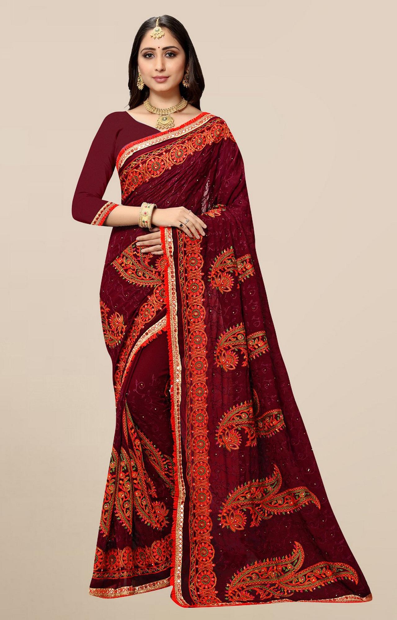 SATIMA | Designer Maroon Georgette Self-Design Embroidered Saree