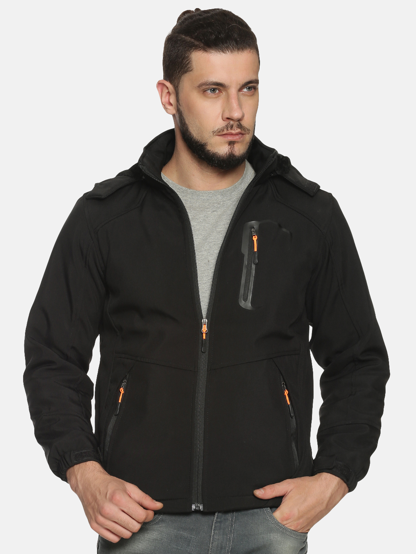 Showoff   Men Black Solid Sporty Jacket with Detachable Hood