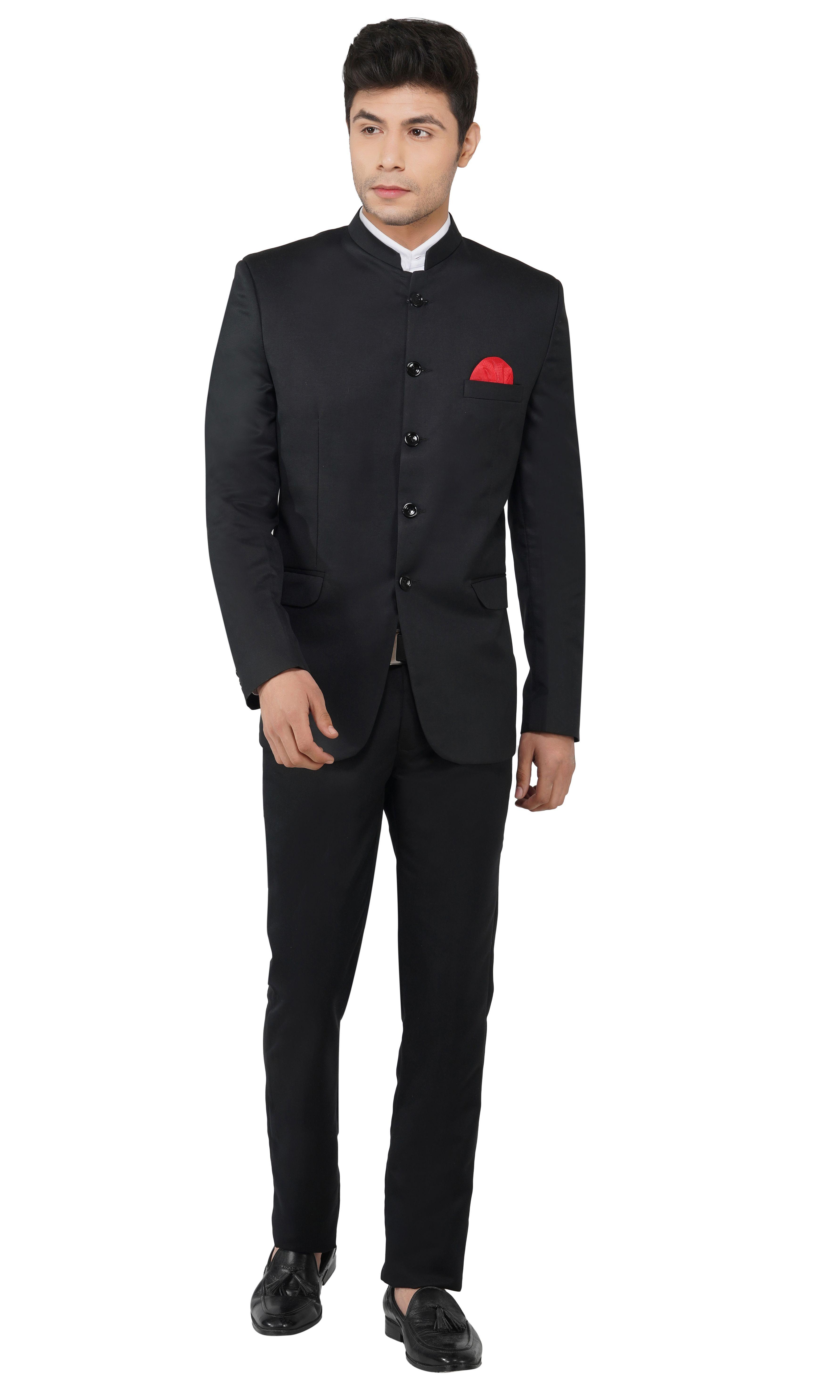 TAHVO | Black Men Bandhgala Suit