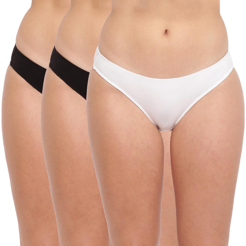 BASIICS by La Intimo | Grace Well Bikini Brief - Black,White (Pack Of 3)