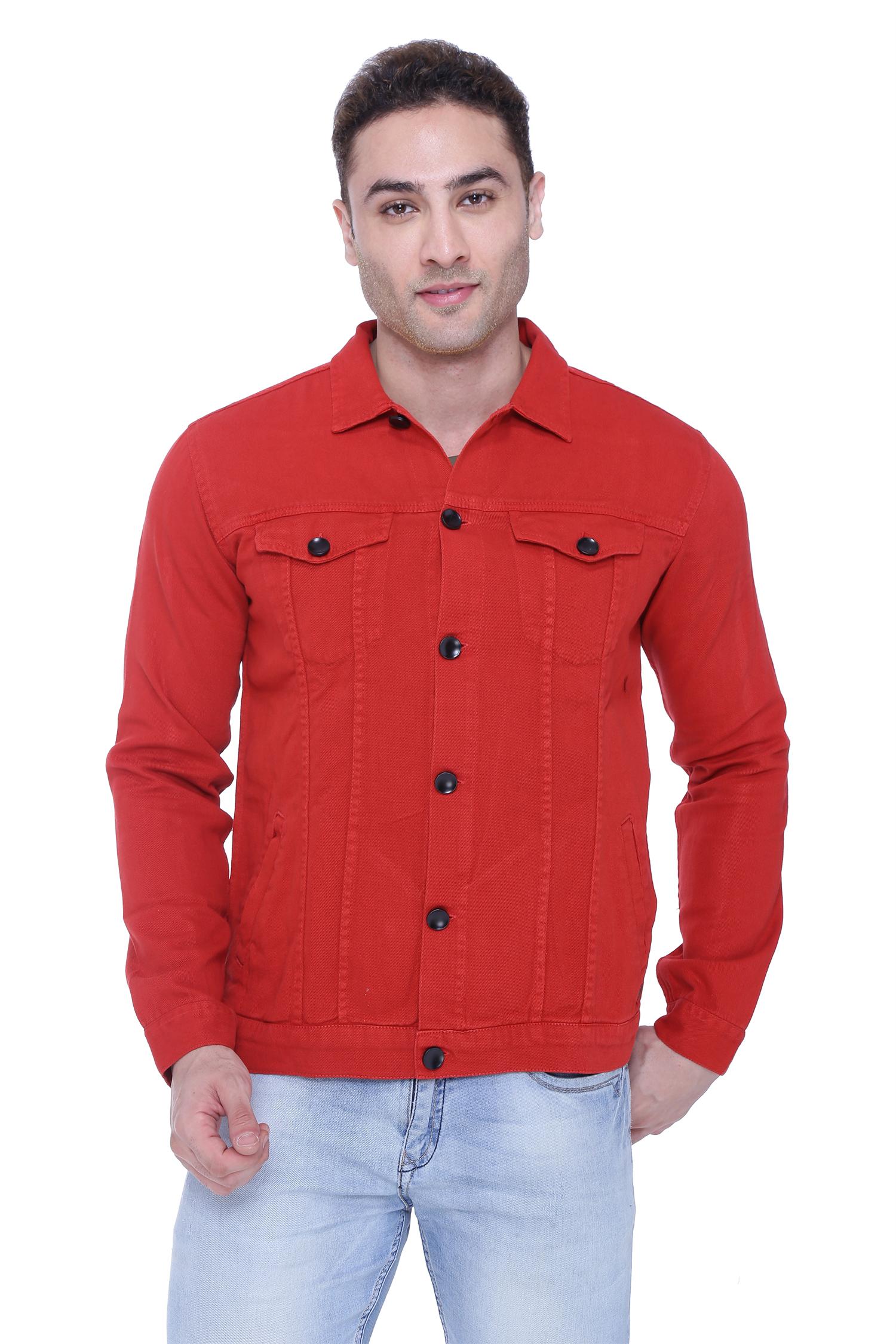 Kuons Avenue | Kuons Avenue Men's Cherry Red Denim Jacket- KACLFS1361RD