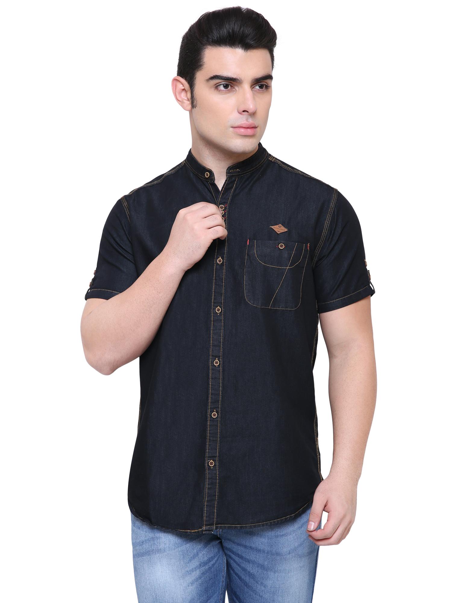 Kuons Avenue   Kuons Avenue Men's Black Half Sleeve Denim Shirt- KACLHS1179BK