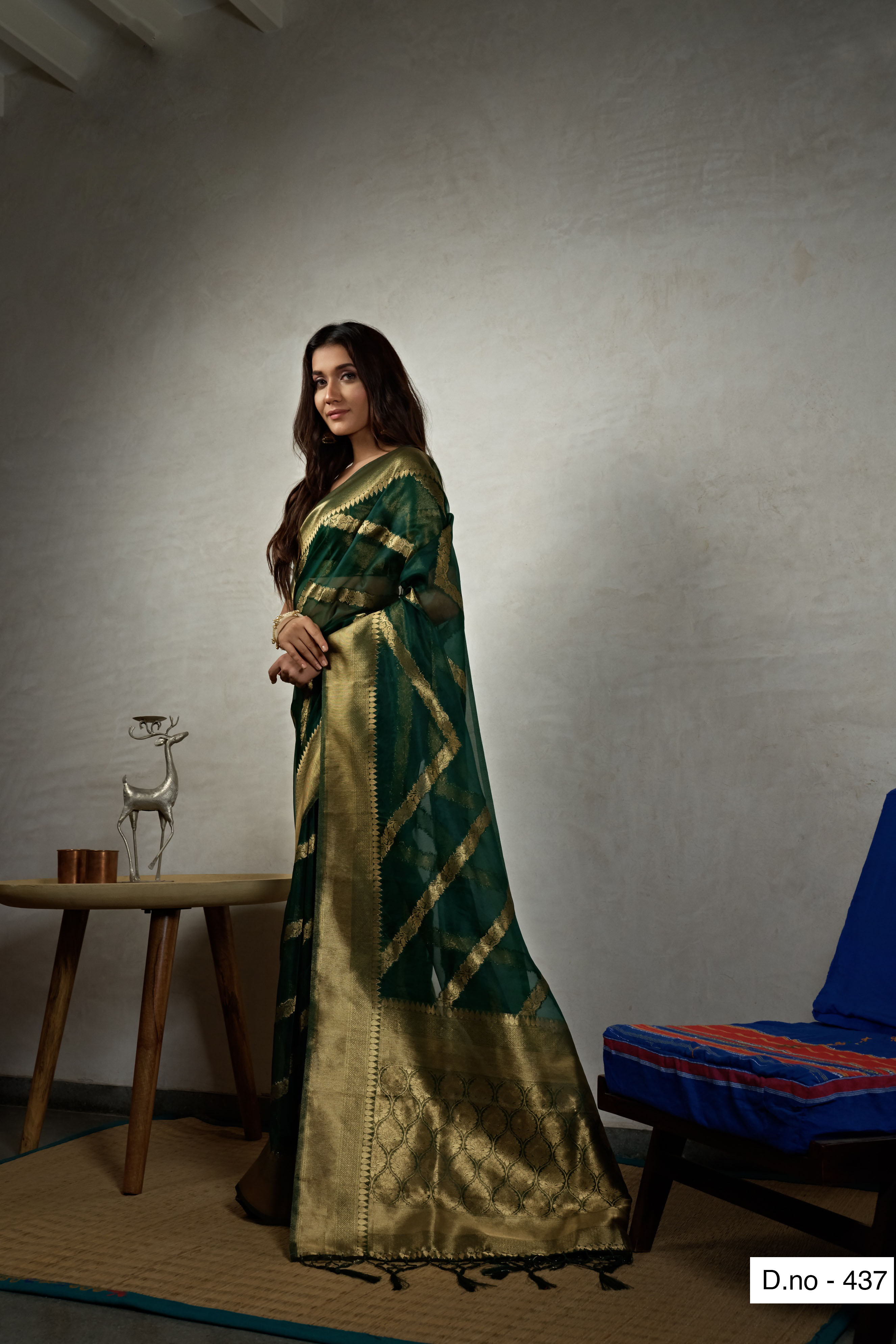 POONAM TEXTILE | Fashion Banaras Dark Green Organza Silk Hand Dyed Zari Festive Saree