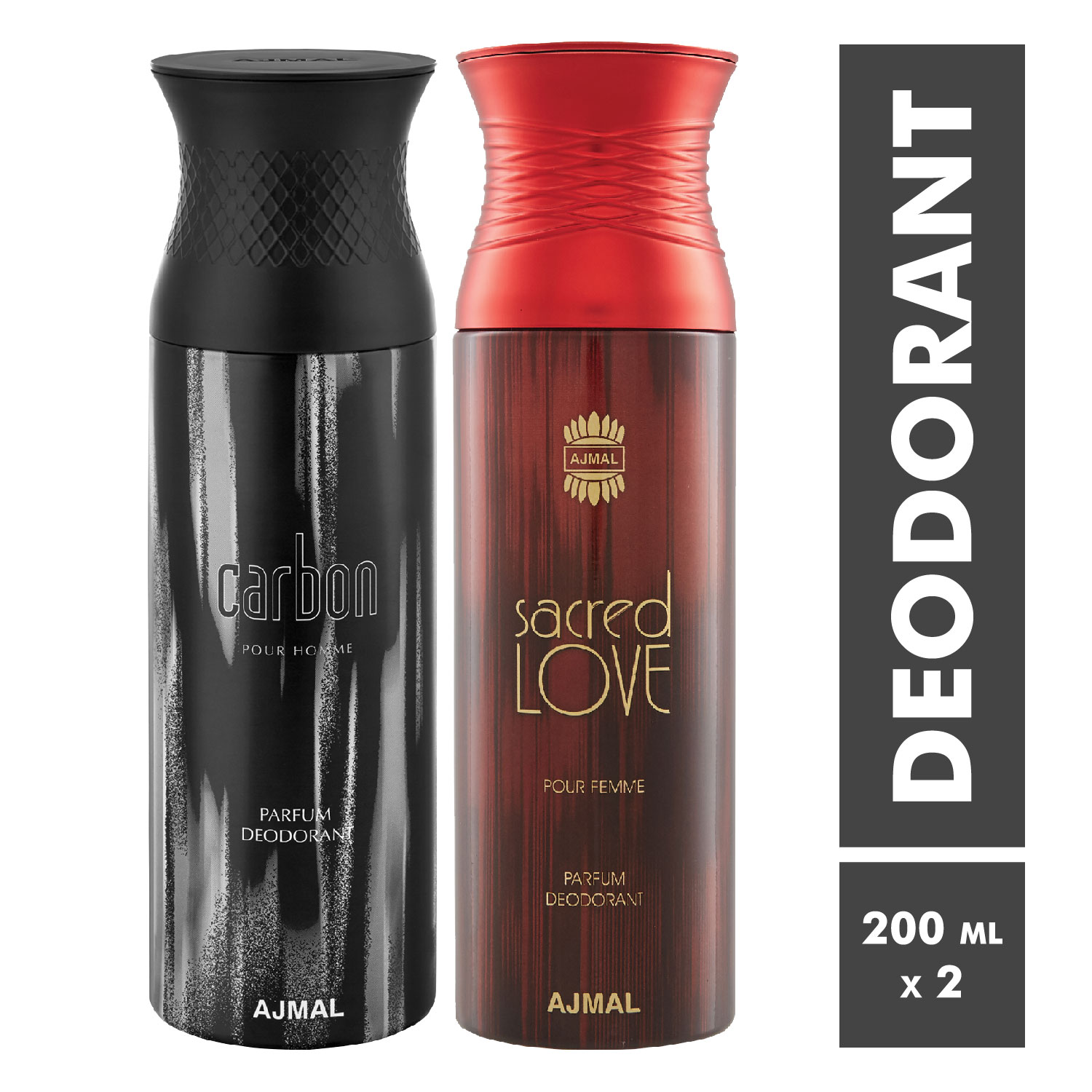 Ajmal | Carbon Homme and Sacred Love Deodorant Spray - Pack of 2