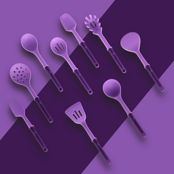 Amour | Amour Silicone Kitchen Utensils Set, (9 Piece with Holder) Silicon Cooking Kitchen Utensils Set - BPA Free, Non-Stick Silicone Heat Resistant for Cooking and Baking (Purple)