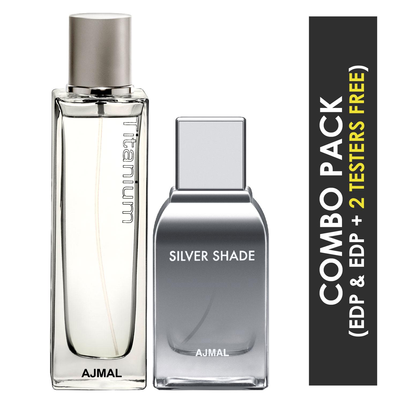 Ajmal | Ajmal Titanium EDP Citrus Spicy Perfume 100ml for Men and Silver Shade EDP Citrus Woody Perfume 100ml for Men + 2 Parfum Testers FREE
