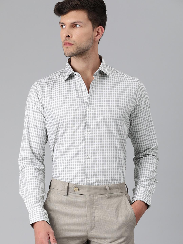 The Bear House   Men Grey & White Slim Fit Checked Giza Cotton Formal Shirt