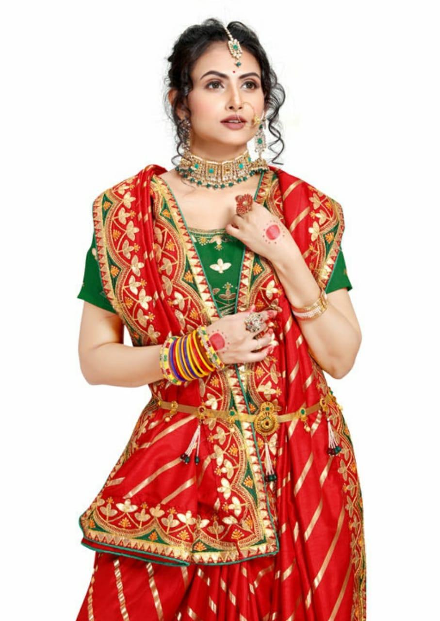 AWRIYA | AWRIYA Women's Silk Saree with Foil Print & Embroidery Gota Patti Work - LATA RED