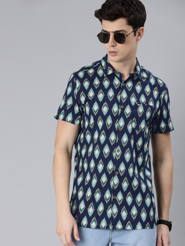 The Bear House   Men's Short Sleeves Printed Shirt