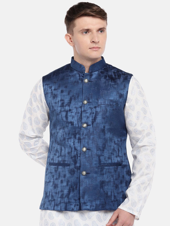 Ethnicity | Ethnicity Full Sleeve Polyester Blend Blue Men Jackets