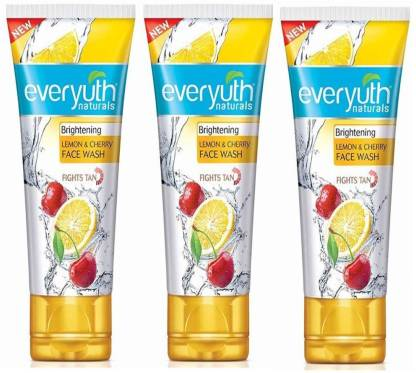 Everyuth Naturals | Everyuth Naturals Brightening LEMON and CHERRY 50g X 3 Face Wash  (150 g)