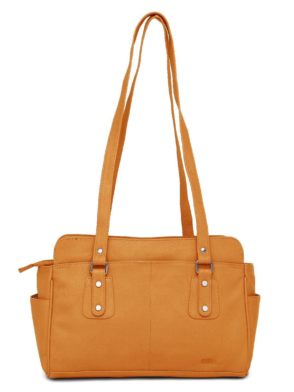 WildHorn | WildHorn Upper Grain Genuine Leather Ladies Shoulder Hand Bag for Girls & Women - Yellow