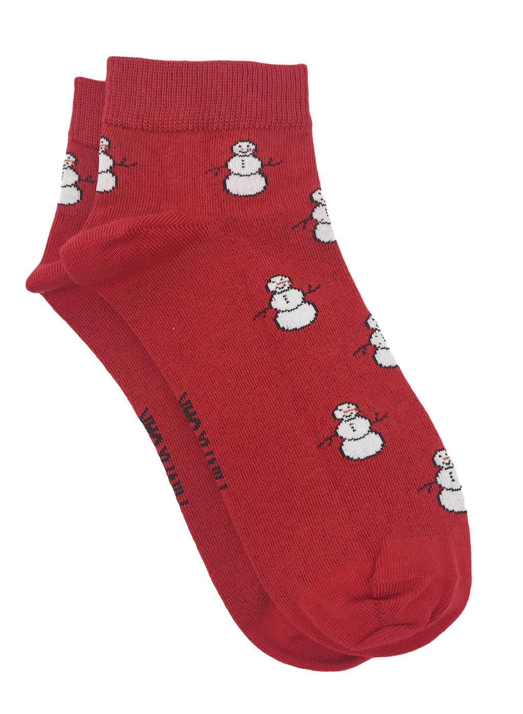 Mint & Oak | Mint & Oak Mr. Snowman Red Ankle Length Socks for Men