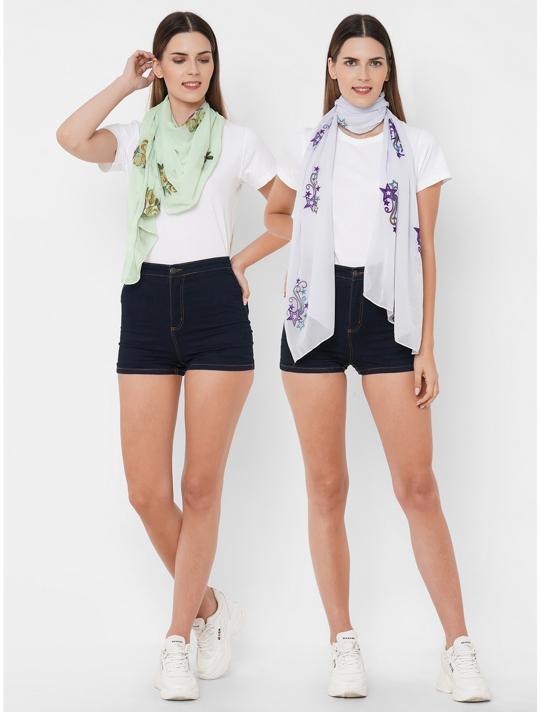 Get Wrapped | Get Wrapped Polyester Embroidered Multicolor Scarves - Combo Pack of 2