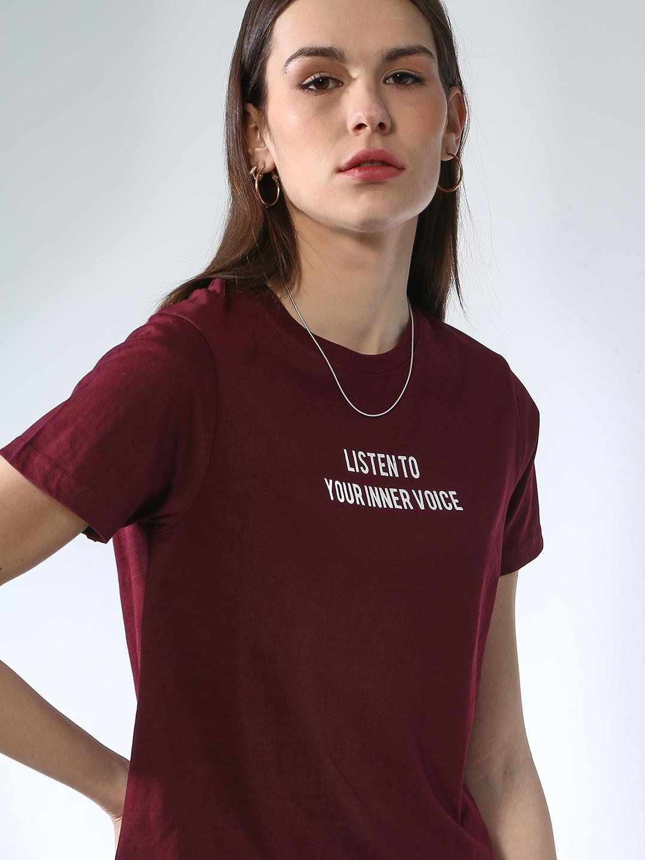 Blue Saint | Blue Saint Women's Brown Regular Fit T-shirts