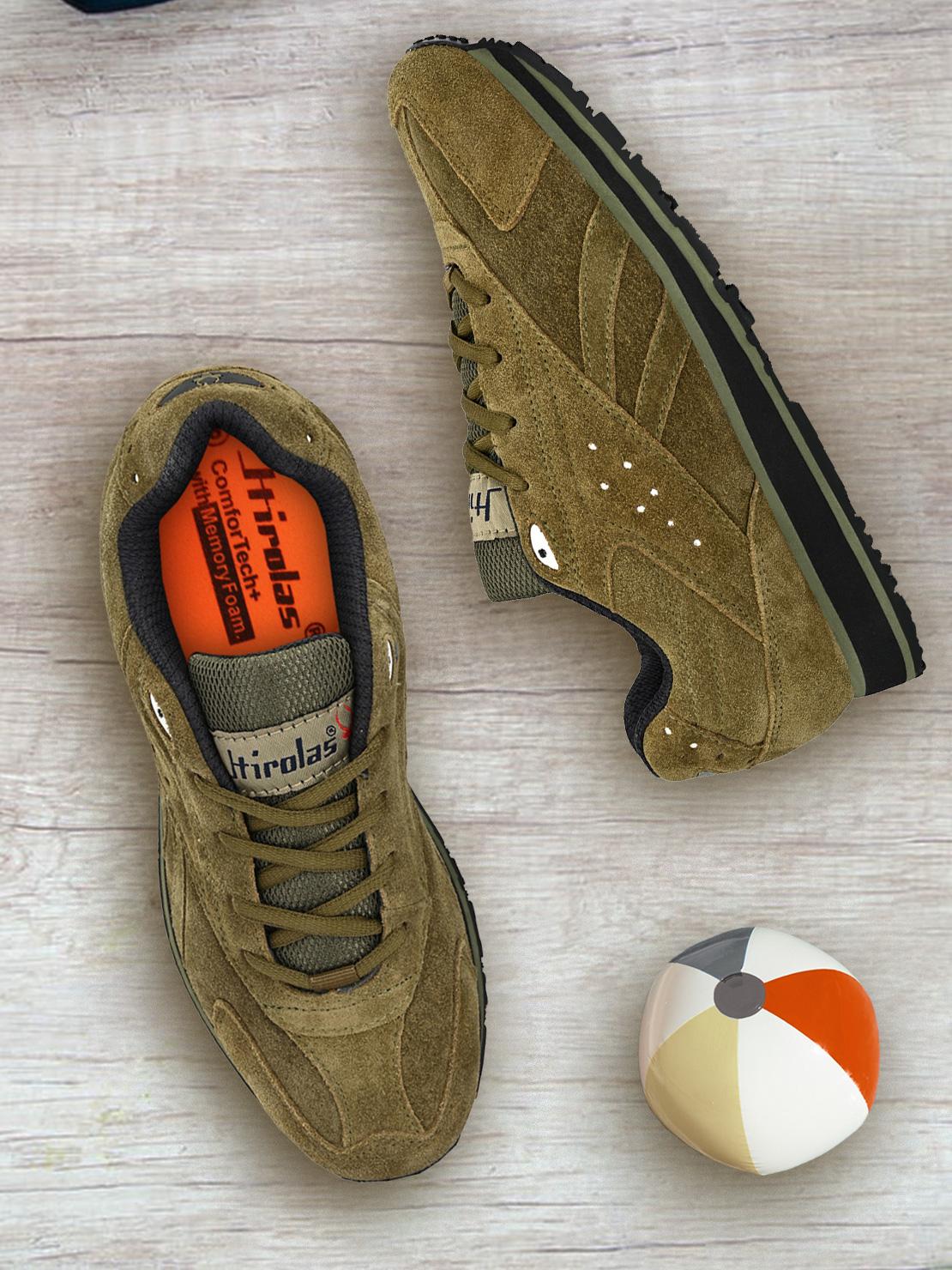 Hirolas | Hirolas® Men's Leather Multi Sport Shock Absorbing Walking  Running Fitness Athletic Training Gym Sneaker Shoes-Olive