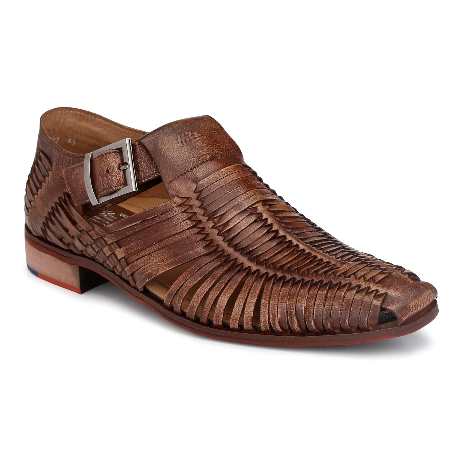 Hitz   Hitz Brown_Genuine Leather Party Wear Shoes For Men With Buckle