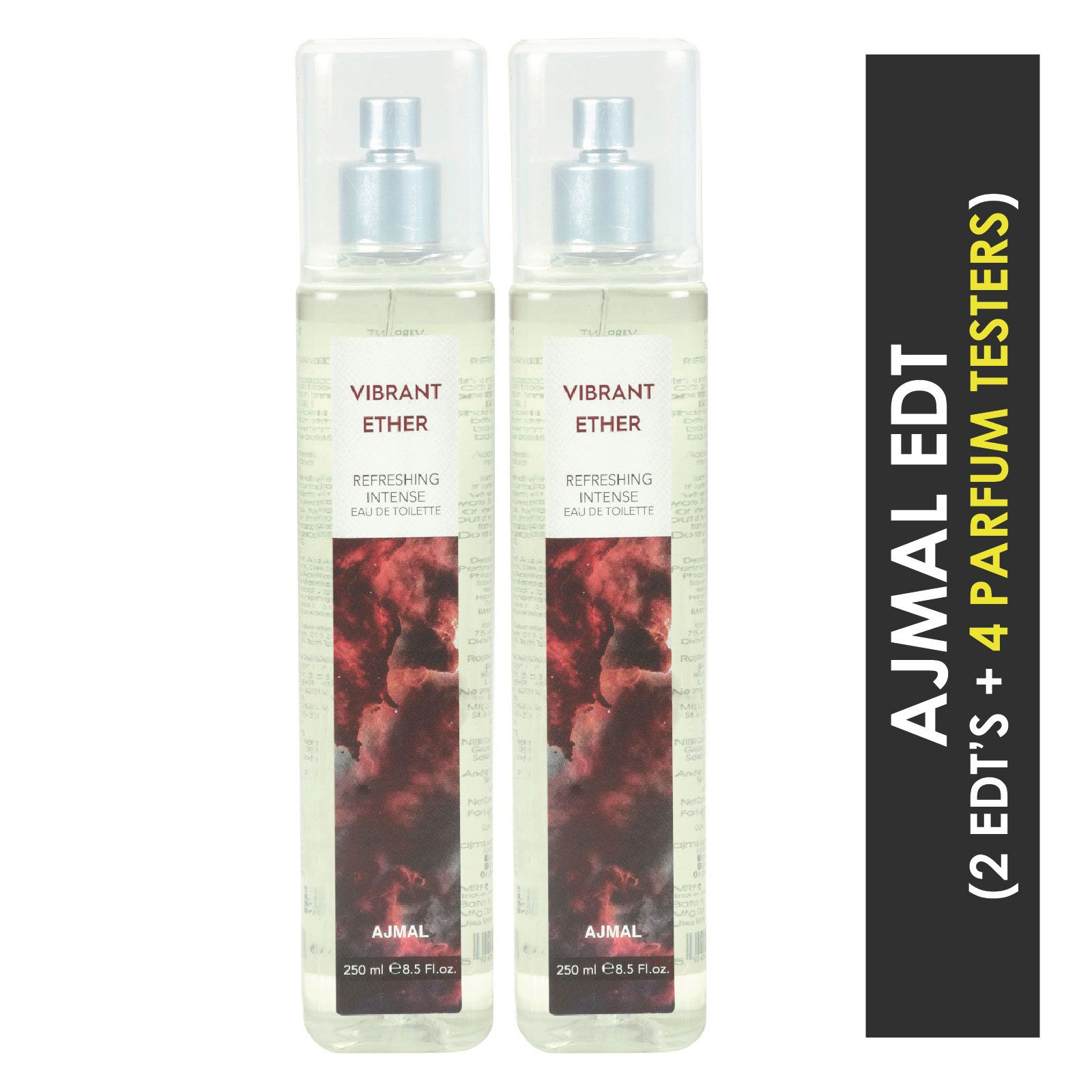 Ajmal | Ajmal Vibrant Ether EDT  pack of 2 each 250ml (Total 500ML) for Unisex + 4 Parfum Testers