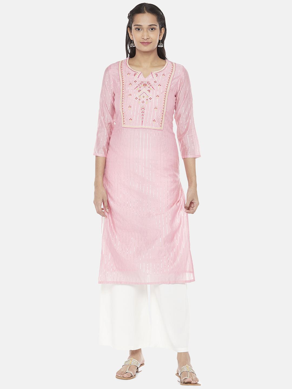 Ethnicity | Chanderi Silk Straight Women Pink Kurta