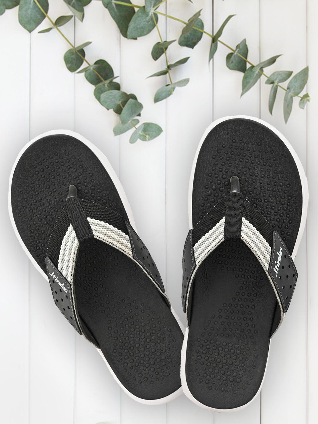 Hirolas | HIROLAS CLOUDWALK | Comfortable | Ultra-Soft | Light-Weight | Shock Absorbent | Bounce Back Technology | Water-Resistant | Flip Flops | Slippers for Men - Black/Grey