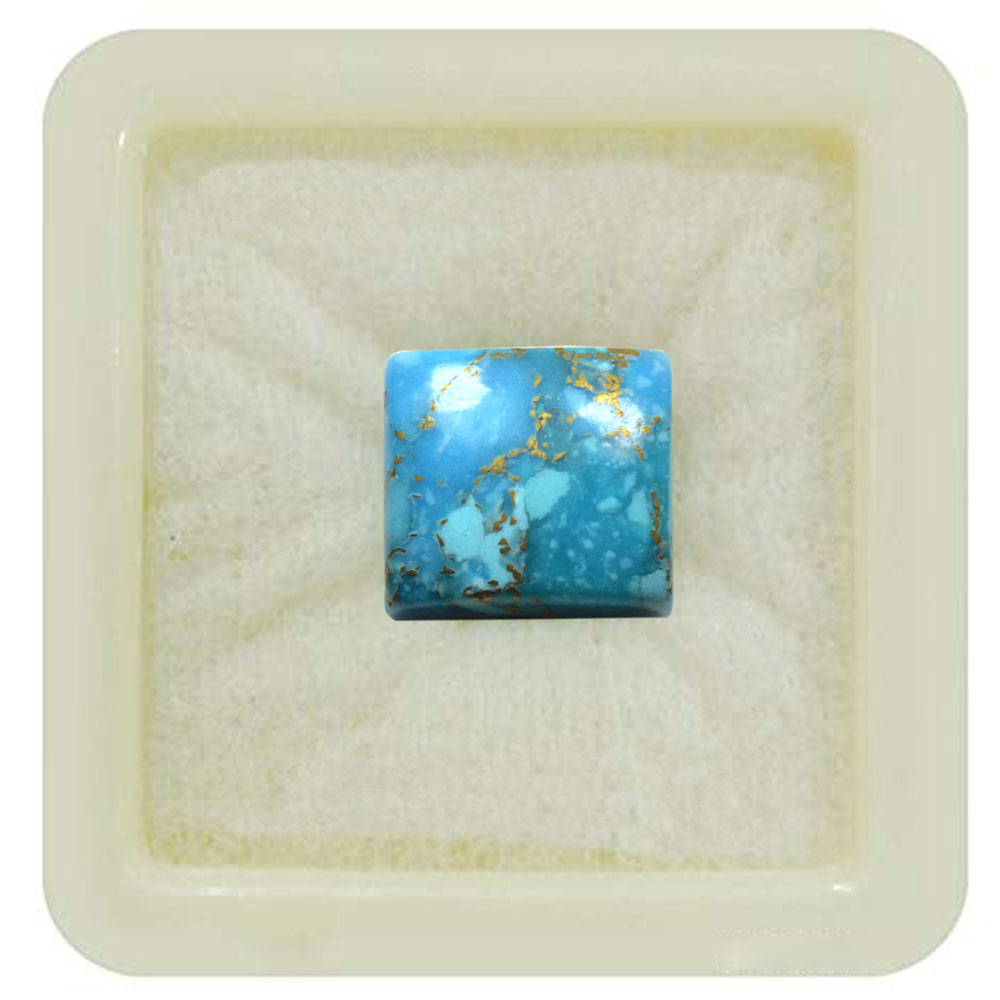 55Carat   Real 6.25 Ratti 5.68 Carat Copper Turquoise Gemsotone Firoza Square For Astrological Use