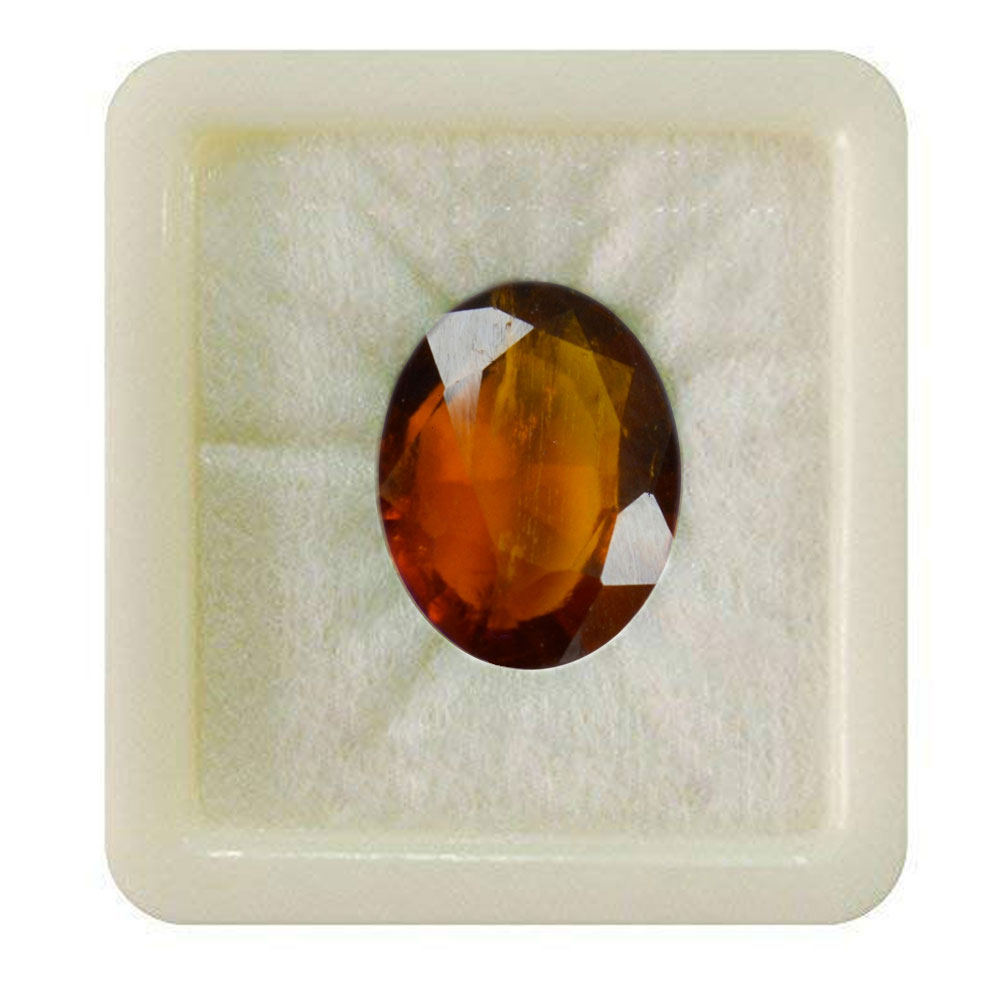55Carat   Natural Certified Ceylon Hessonite 7.25 Ratti 6.59 Carat Loose Gemstone Gomed Oval Shape