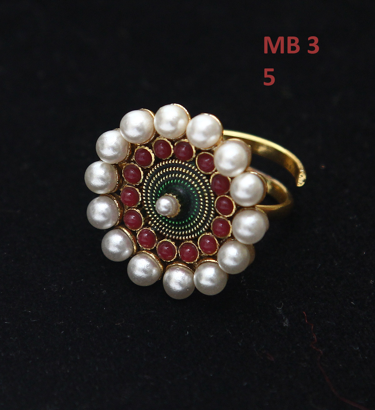 55Carat | 55Carat Latest Design Ethnic Ring Pearl,Ruby CZ Multicolor Rich Designer 18K Gold Plated Adjustable Rings Fashion Jewellery for Girls Ladies Women
