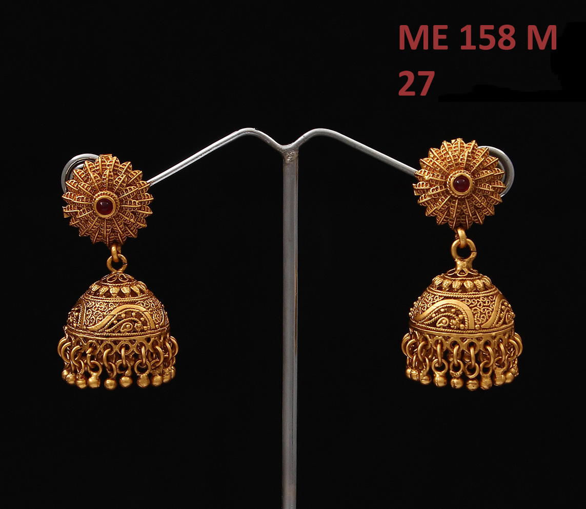 55Carat | Jhumki Earrings Gold Plated Red Ruby Red Ruby Ethnic Jhumki Earrings Gold Plated Red Ruby for Women Girls Ladies Ethnic