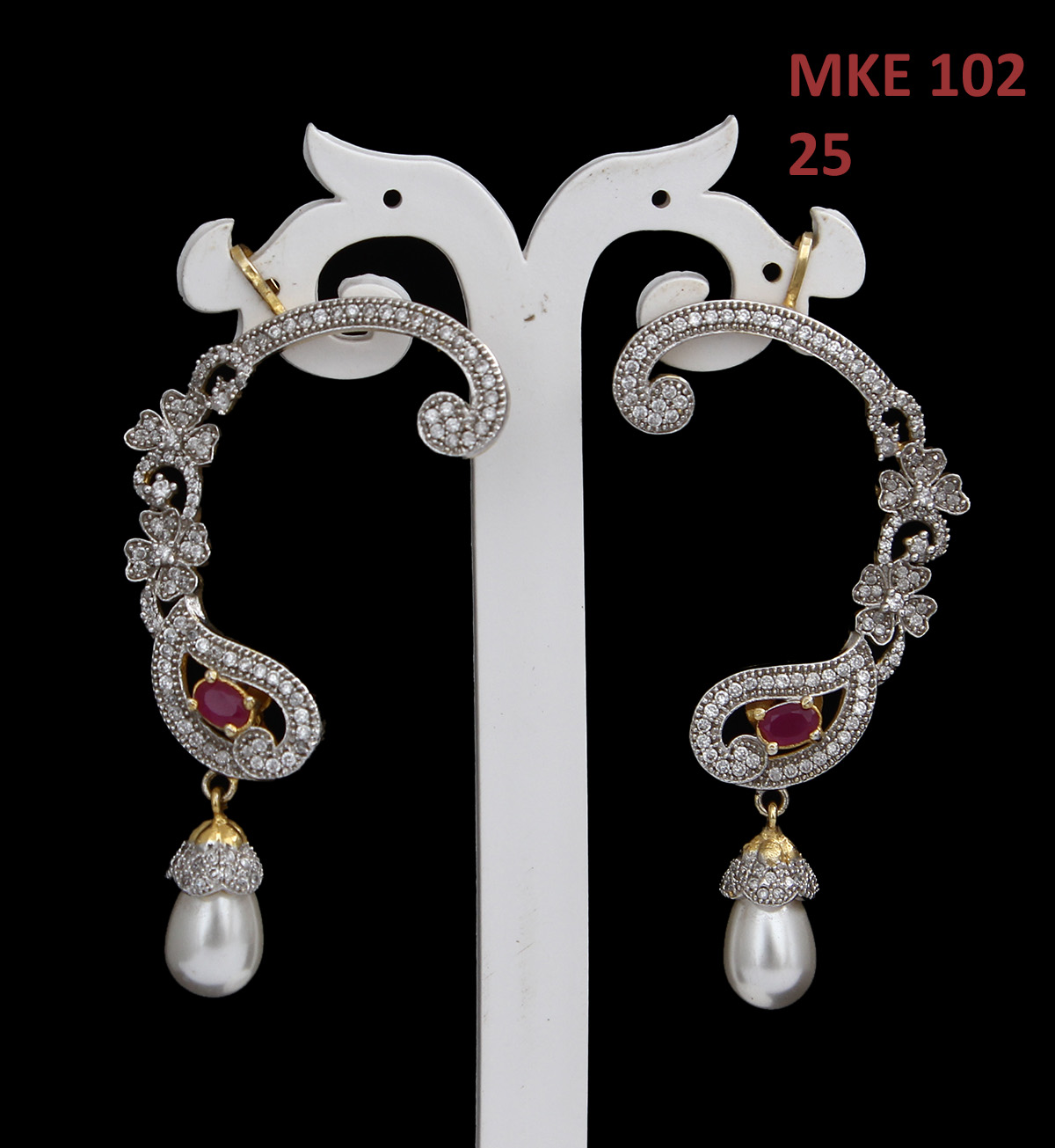 55Carat | 55Carat Modern Ear Cuffs Red Ruby CZ 14K Gold Plated Intricately Studded with Oval Red Ruby Cubic Zircon Pear Floral Style with SIngle Pearl Drop Earrings Jewellery for Women and Girls