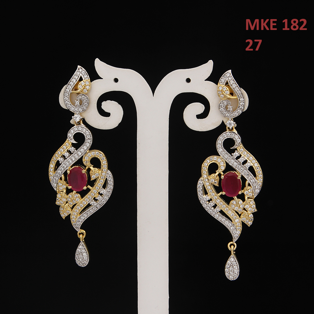 55Carat | Unique Drop & Dangle Earrings For Girls Ruby,Cubic Zircon Stones Gold Plated Studded Chandelier Earings For Women Traditional Golden Designer Jewellery