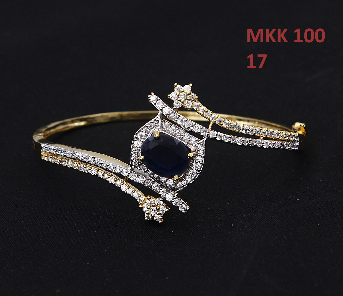 55Carat | 55Carat Beautiful Designer Bracelet Blue Sapphire Neelam Diamond CZ Gold Plated Hand Jewellery Chudi Stylish Traditional Gifts for Mother and Sister