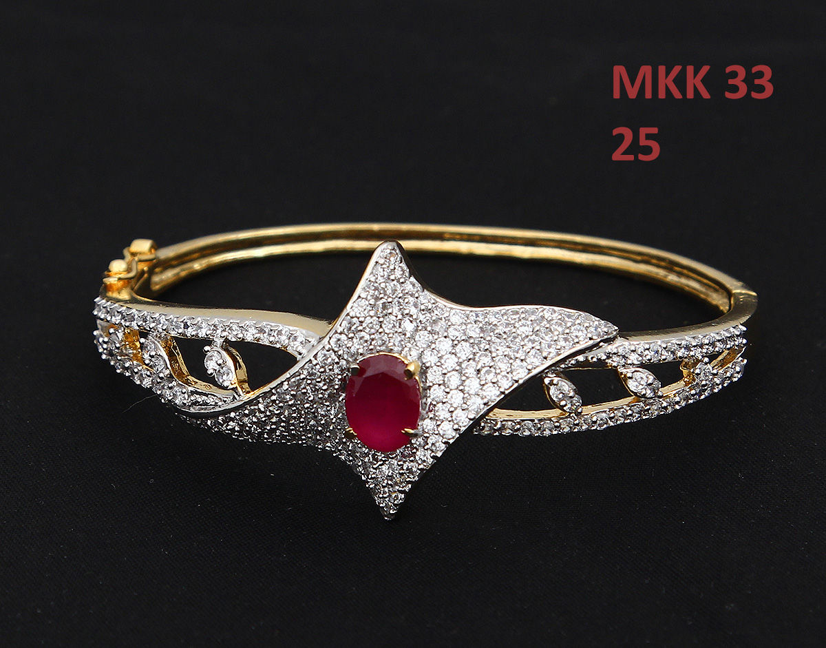 55Carat | 55Carat Classy Looking Bangle Bracelet Red Onyx Hakik Diamond CZ Gold Plated Hand Jewellery Kada With Gemstone Romantic Gift of True Love Bracelet for Women and Girls