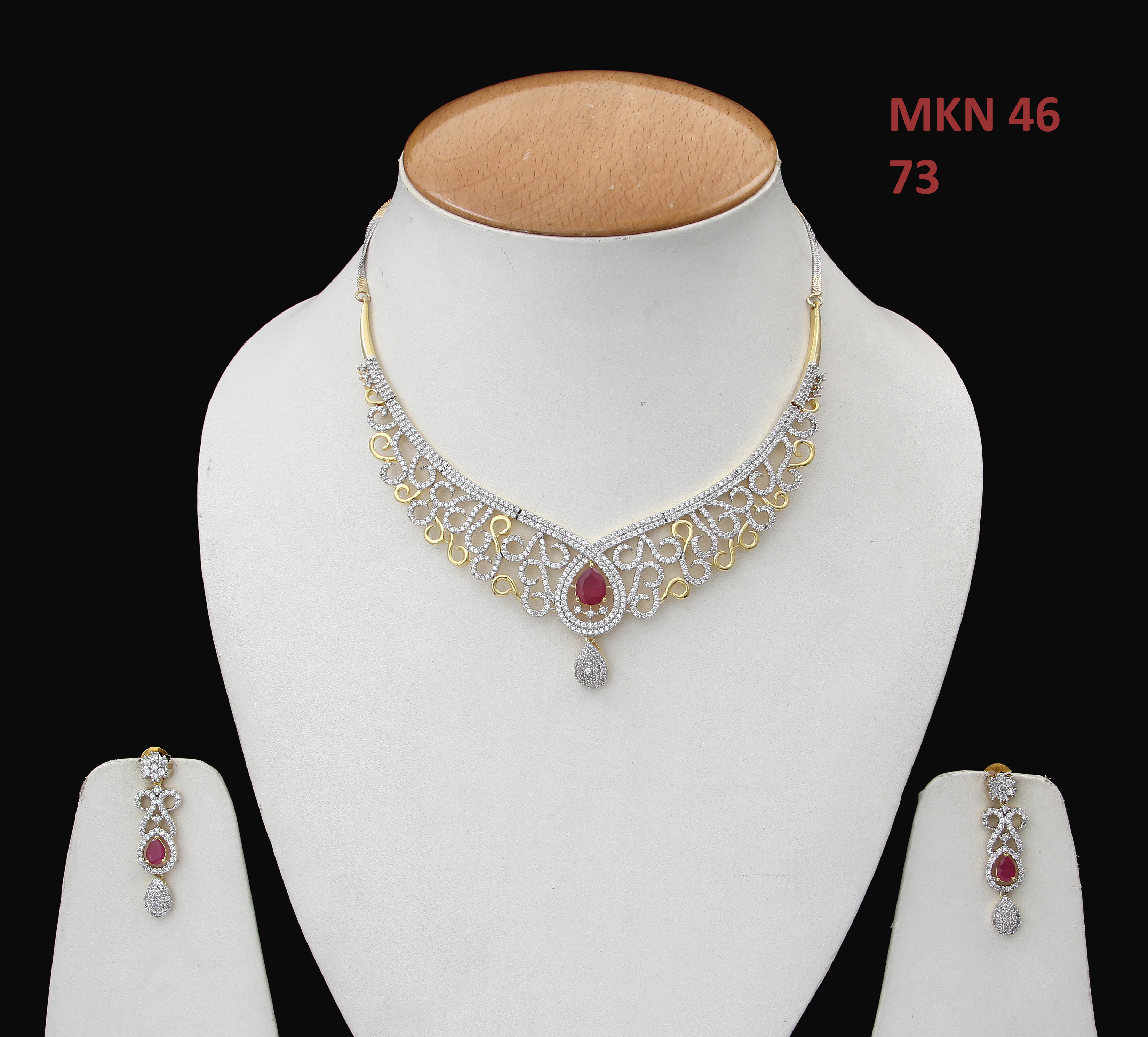 55Carat | 55Carat Trendy Necklace with Earring For Women Girls Ladies Red Onyx Unique Design Chokar Jewellery Set Gold Plated Silver Plated Chain Haar haram Multipurpose Jewellery for Womens MKN 46-RED