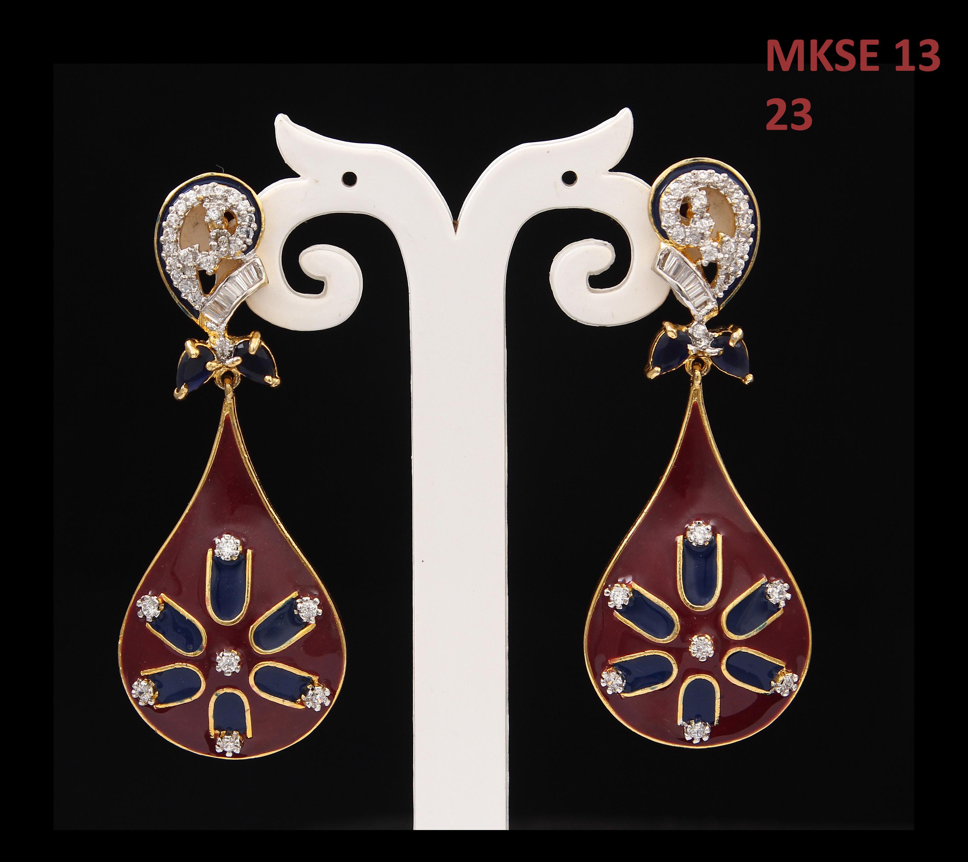 55Carat   Indian Handmade Drop & Dangle Earrings For Womens Cubic Zircon Stones Gold Plated Teardrop Bohemian Long Earings For Girls Lightweight Kundal Fashion Jewelry