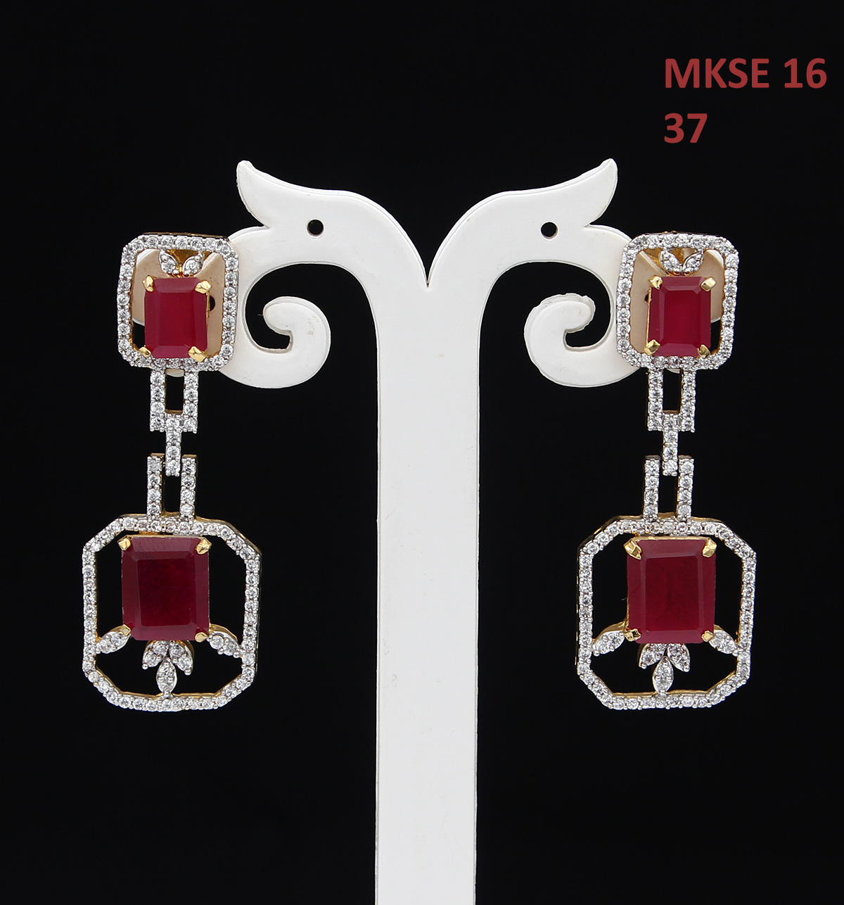 55Carat   Unique Dangle Earrings For Girls Red,White Color Ruby,Cubic Zircon Stones Gold Plated Cluster Bohemian Long Earings For Women Traditional Golden Designer Jewellery