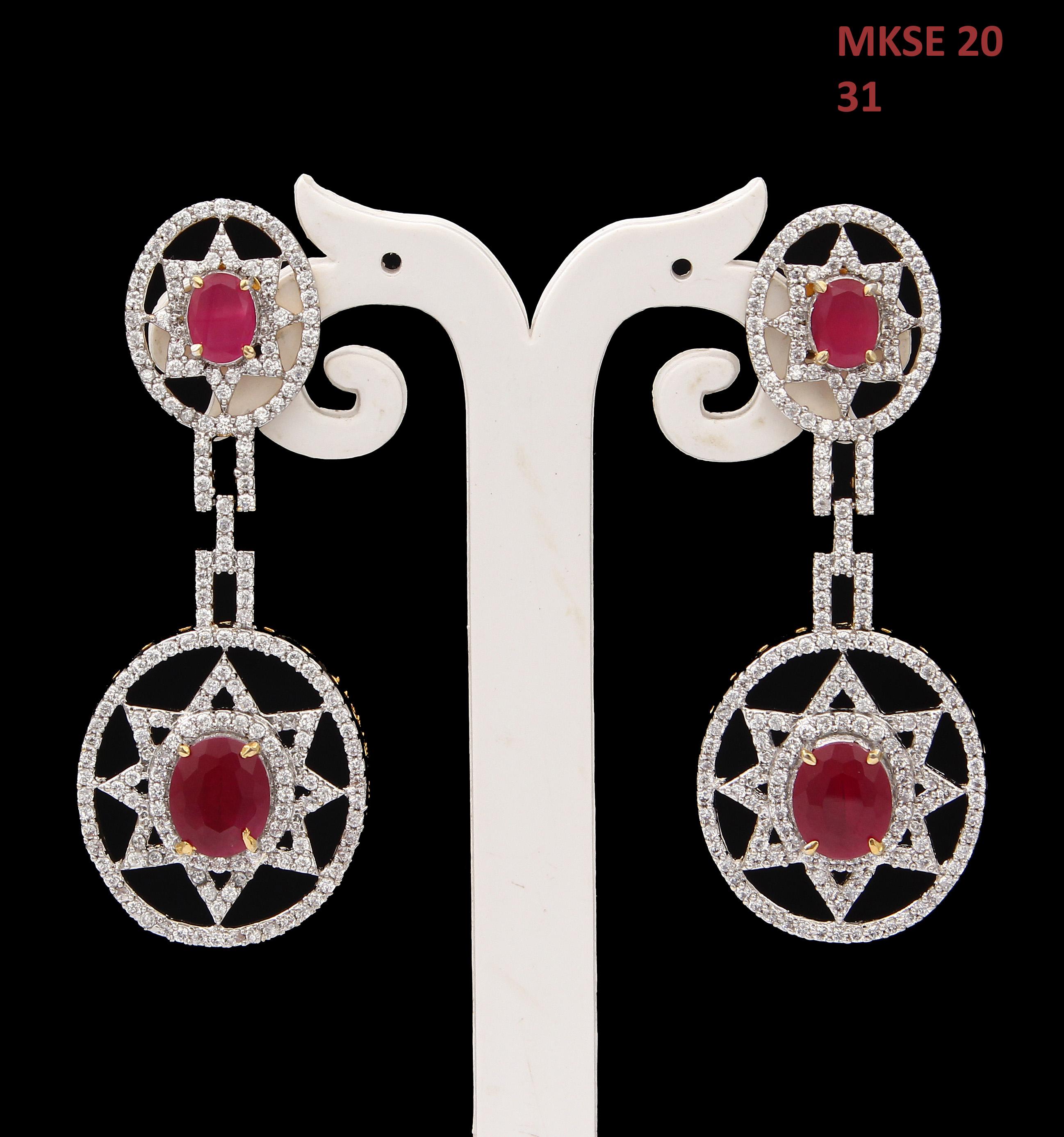 55Carat   Handmade Drop & Dangle Earrings For Womens Ruby,Cubic Zircon Stones Gold Plated Cluster Stud Bohemian Long Earings For Girls Lightweight Indian Fashion Jewellery