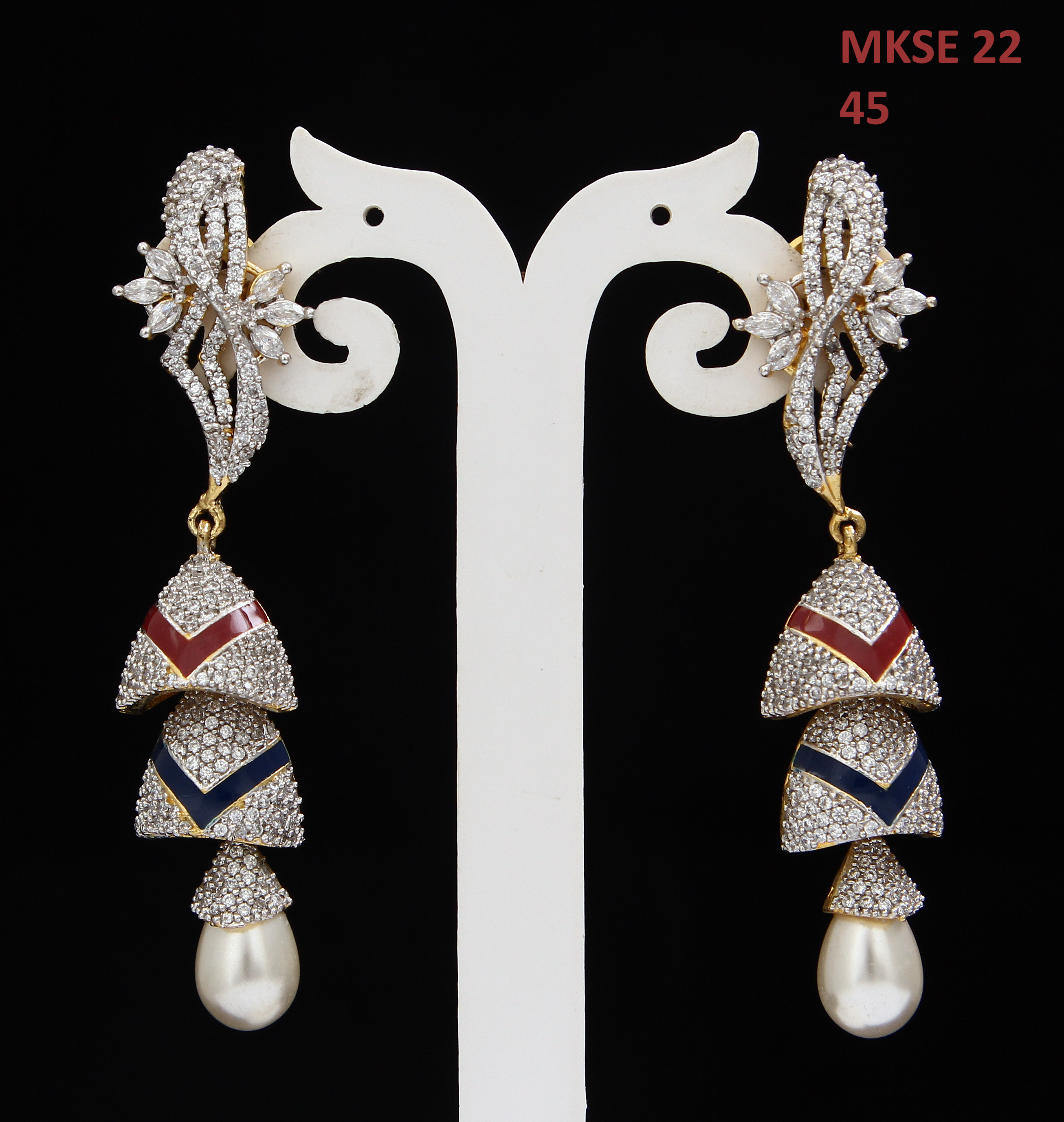 55Carat | Beautiful Dangle Earrings For Girls White Pearl,Cubic Zircon Stones Gold Plated Cluster Long Stud Teardrop Earings For Women Indian Traditional Design Jewelry