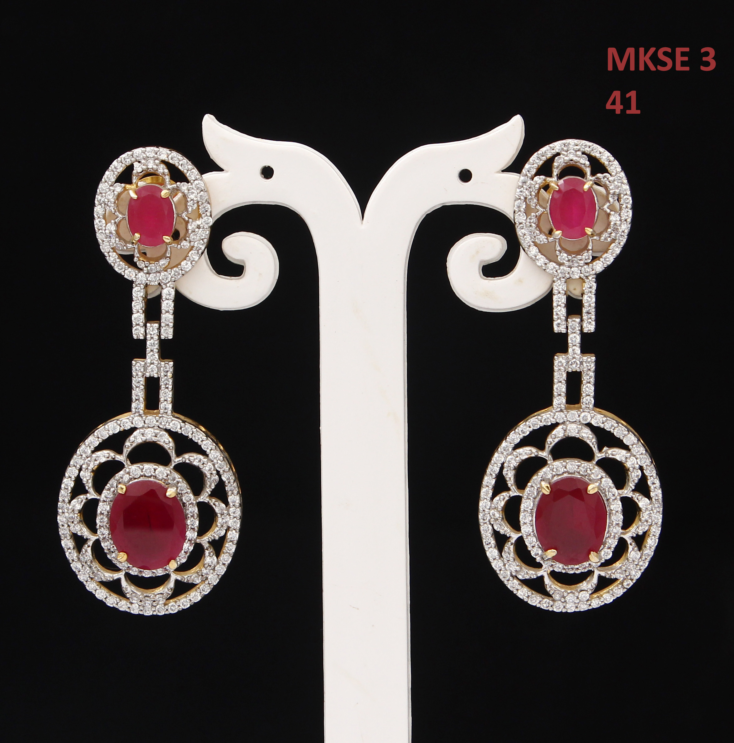 55Carat   Unique Drop & Dangle Earrings For Girls Ruby,Cubic Zircon Stones Gold Plated Cluster Bohemian Long Earings For Women Traditional Golden Designer Jewellery