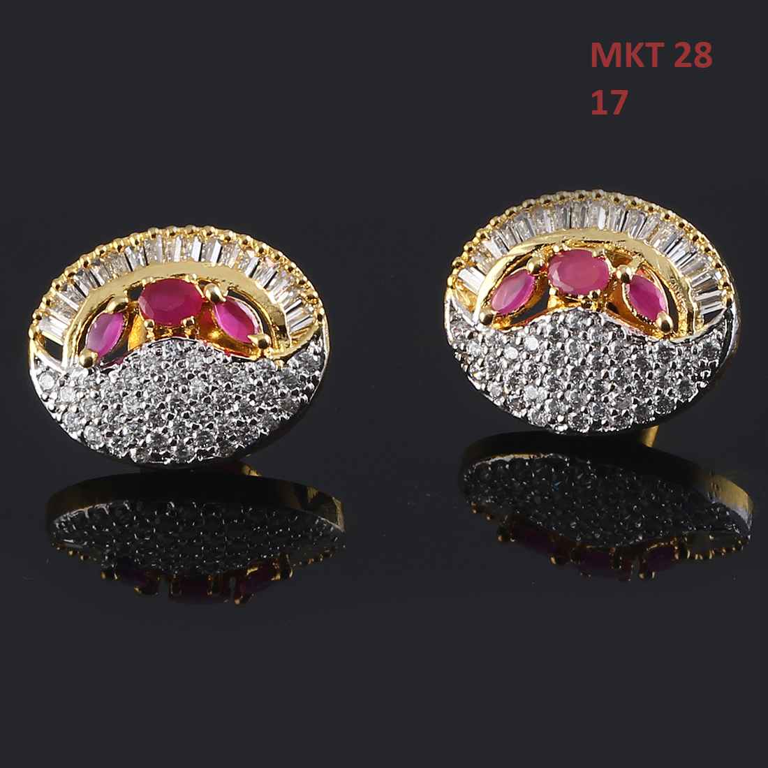 55Carat | 55Carat Ear Tops Gold Plated Ruby, Cubic Zircon Ideal Pair Earrings Tops Ear Tops,Gold Plated,Ruby, Cubic Zircon,Ideal Pair Earrings Tops MKT-28-PINK